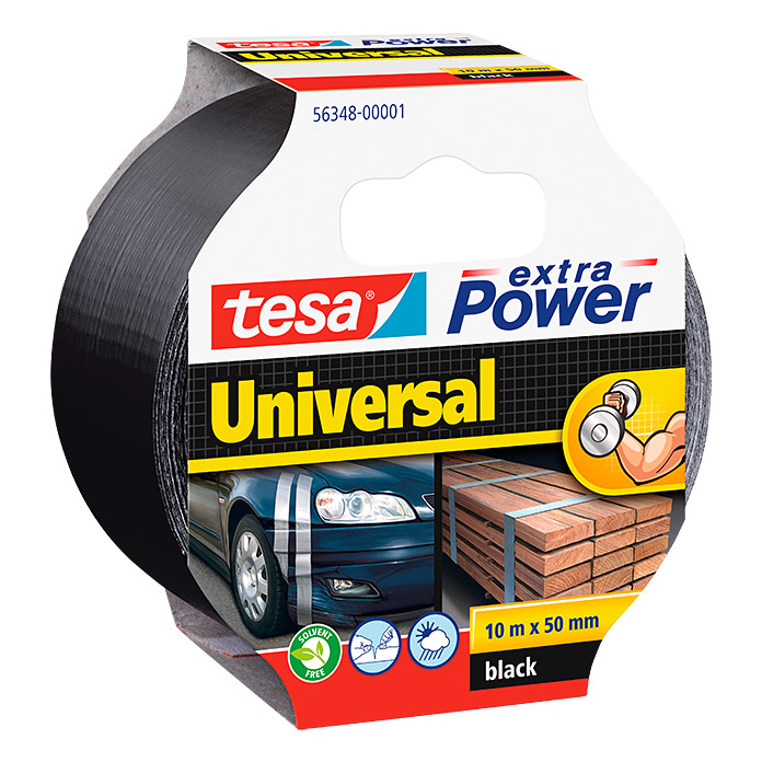 Tesa Extra Power Folienband (Schwarz, 10 m x 50 mm)