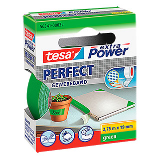 Tesa extra Power Gewebeband PERFECT (Grün, 2,75 m x 19 mm)