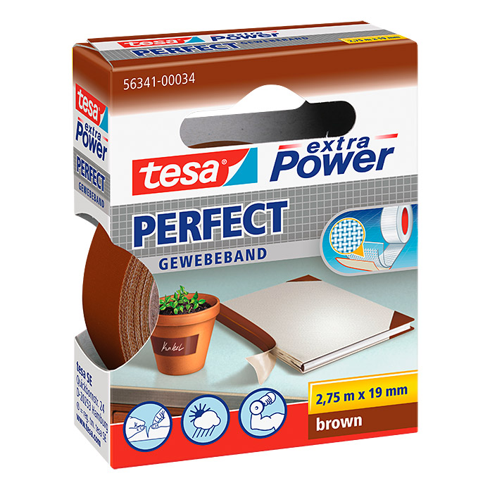 Tesa Extra Power Gewebeband PERFECT (Braun, 2,75 m x 19 mm)