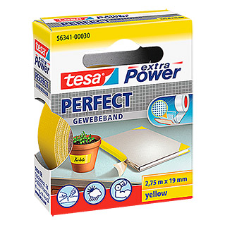 Tesa extra Power Gewebeband PERFECT (Gelb, 2,75 m x 19 mm)