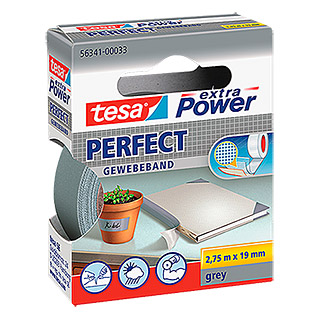 Tesa extra Power Gewebeband PERFECT (Grau, 2,75 m x 19 mm)