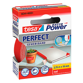 Tesa extra Power Gewebeband PERFECT (Rot, 2,75 m x 19 mm)