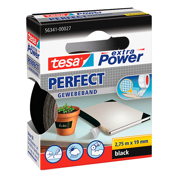 Tesa Extra Power Gewebeband PERFECT (Schwarz, 2,75 m x 19 mm)
