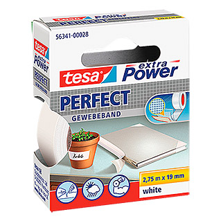 tesa Extra Power Textieltape PERFECT (Wit, 2,75 m x 19 mm)