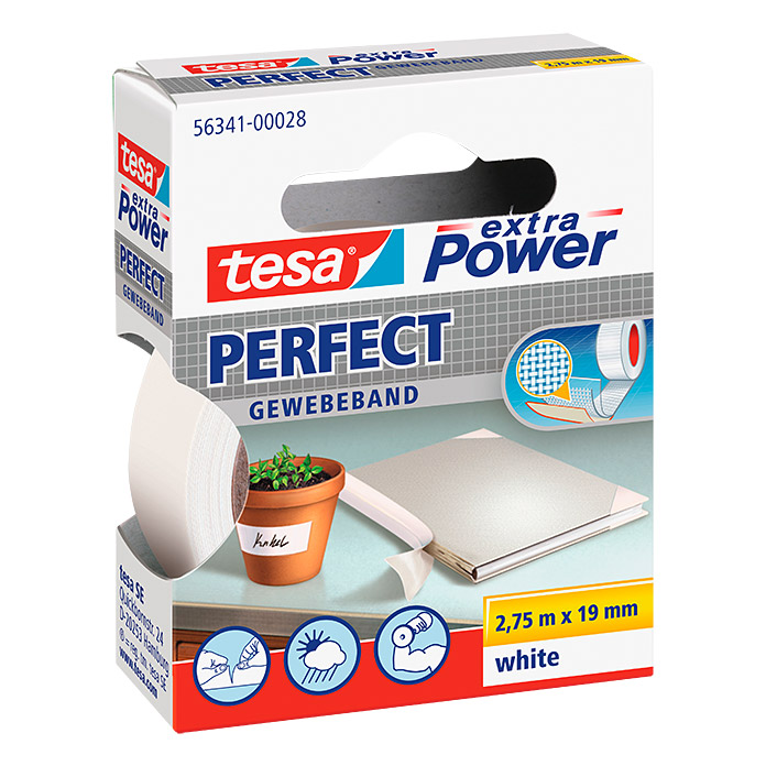 Tesa extra Power Gewebeband PERFECT (Weiß, 2,75 m x 19 mm)
