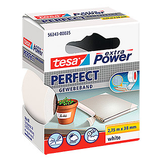 Tesa Extra Power Gewebeband PERFECT (Weiß, 2,75 m x 38 mm)