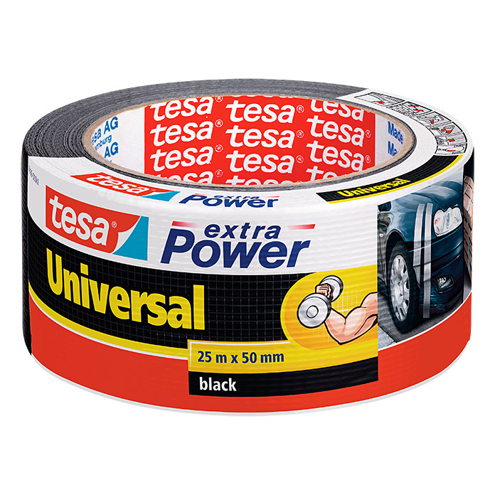Tesa Extra Power Folienband (Schwarz, 25 m x 50 mm)