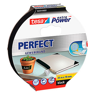 Tesa Extra Power Gewebeband PERFECT (Schwarz, 25 m x 19 mm)