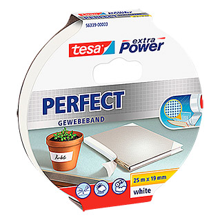 Tesa extra Power Gewebeband PERFECT (Weiß, 25 m x 19 mm)