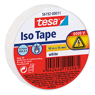 Tesa Isolierband Iso Tape (Weiß, 10 m x 15 mm)