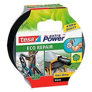 tesa Extra Power Cinta de reparación Eco Repair (Negro, 10 m x 38 mm)