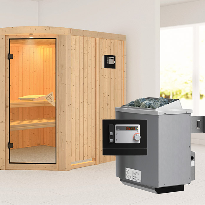 karibu systemsauna aukura mit saunaofen 9 kw inkl steuerung modern 196 x 196 x 198 cm bauhaus. Black Bedroom Furniture Sets. Home Design Ideas