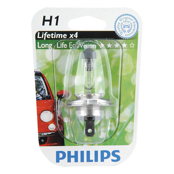 Philips Long Life Eco Vision Hauptscheinwerfer-Lampen  (H1, 1 Stk.)