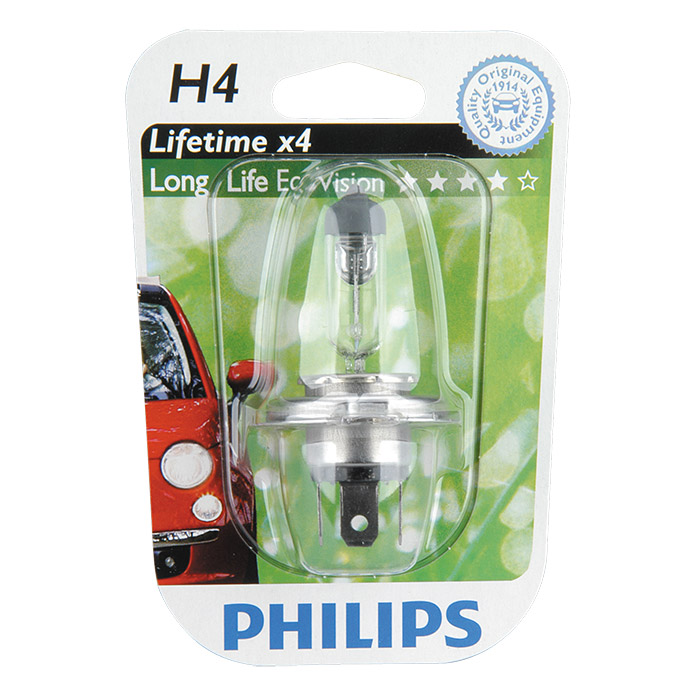 Philips Long Life Eco Vision Hauptscheinwerfer-Lampen  (H4, 1 Stk.)