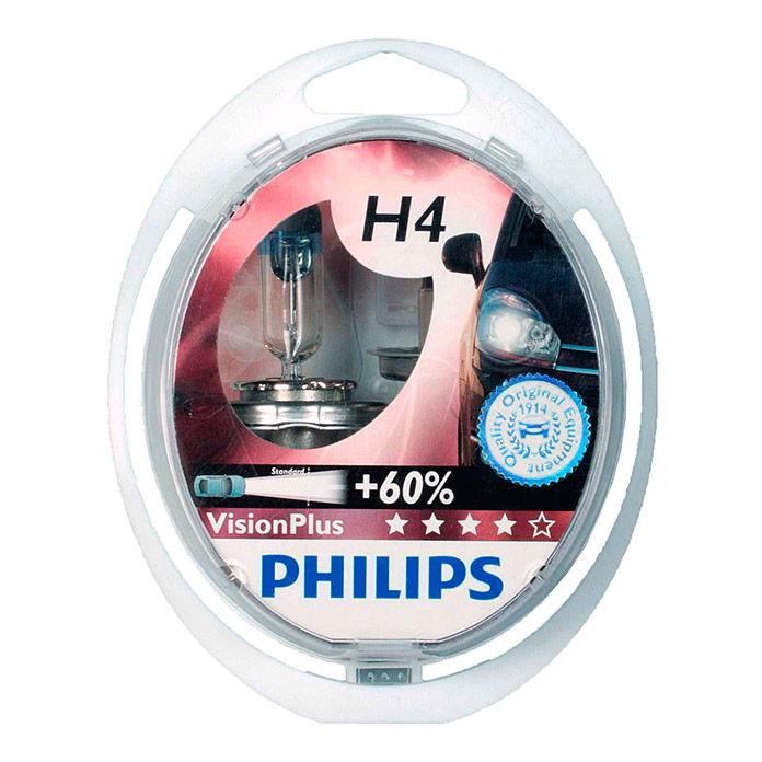 LAMPE     PHILIPS VISION PLUS H4 2ER KIT