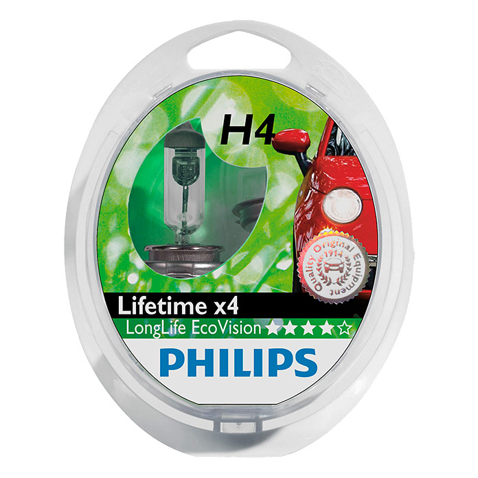 Philips Long Life Eco Vision Hauptscheinwerfer-Lampen  (H4, 2 Stk.)