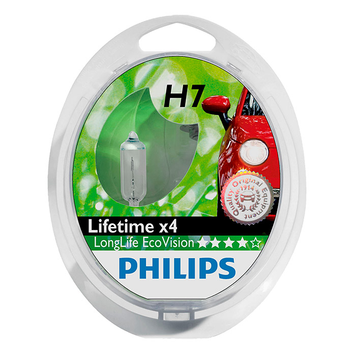 Philips Long Life Eco Vision Hauptscheinwerfer-Lampen  (H7, 2 Stk.)