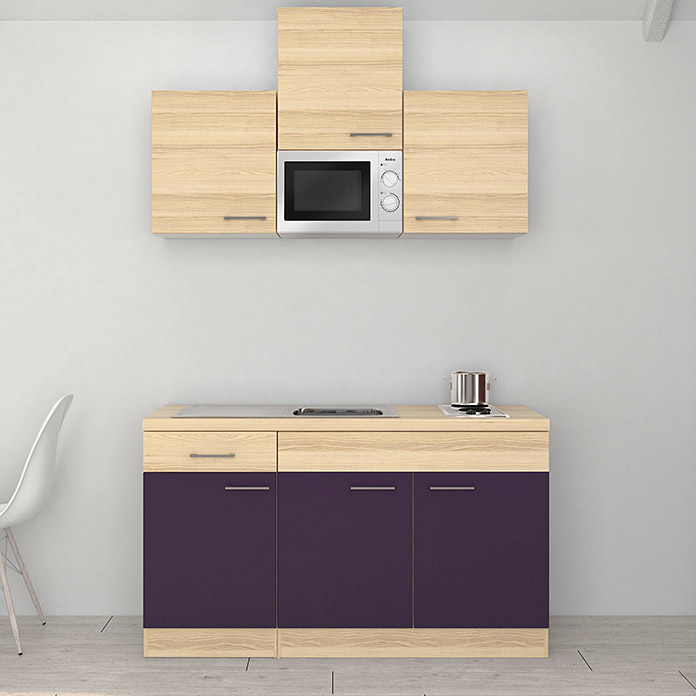 singlek che breite 150 cm akazie aubergine mit kochfeld und mikrowelle singlek chen. Black Bedroom Furniture Sets. Home Design Ideas