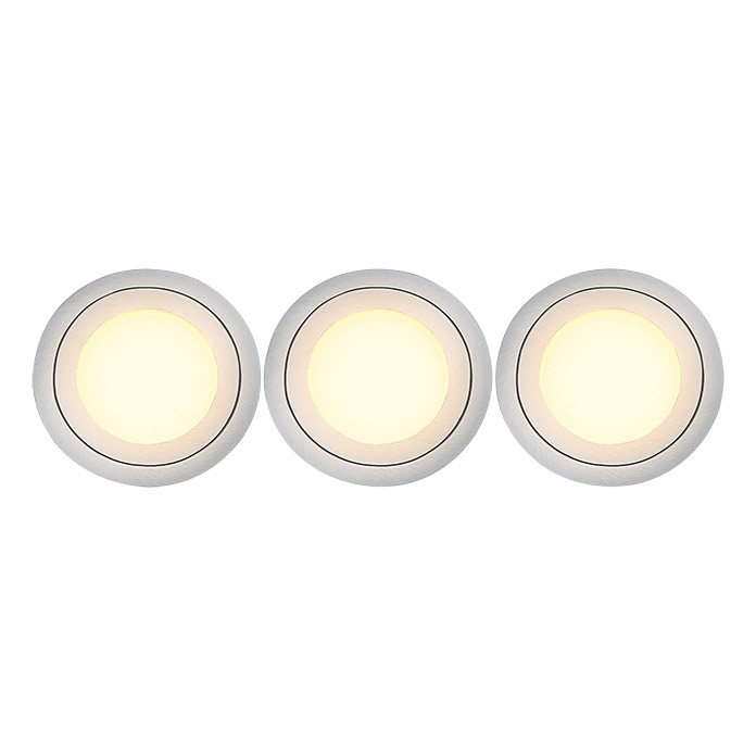 Tween Light Led-inbouwverlichtingset (Nikkel mat, 3 x 3 W, Diameter: 85 mm, Warm wit)