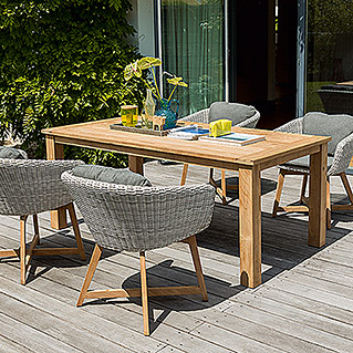 Sunfun Elements Noemi Dining-Set (5-tlg., Holztisch Noemi, Diningsessel Marie)