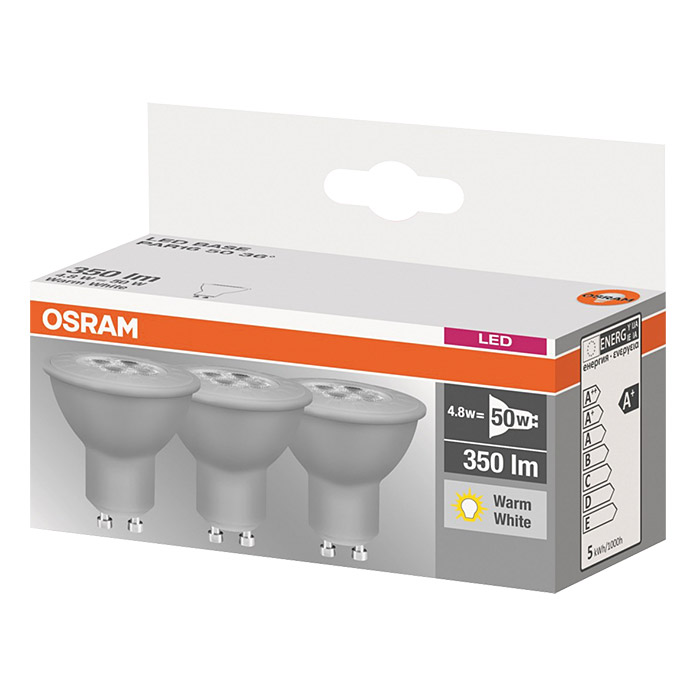osram led leuchtmittel par16 3 stk 4 8 w gu10 warmwei energieeffizienzklasse a bauhaus. Black Bedroom Furniture Sets. Home Design Ideas