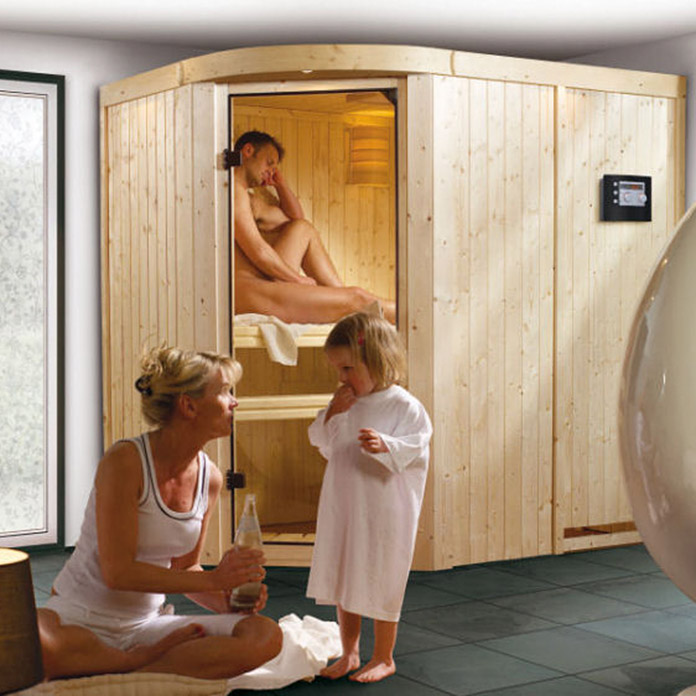 karibu systemsauna lavea mit sauna bio ofen 9 kw inkl. Black Bedroom Furniture Sets. Home Design Ideas