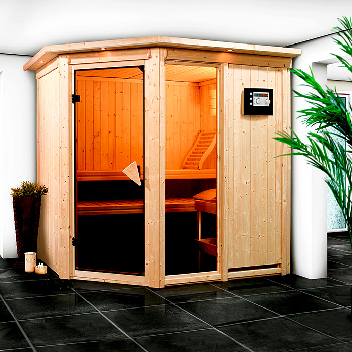 karibu systemsauna fiona 1 ohne dachkranz mit 9 kw saunaofen mit integrierter steuerung 151 x. Black Bedroom Furniture Sets. Home Design Ideas