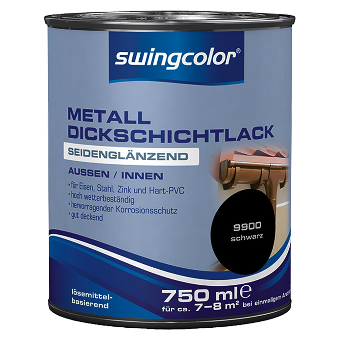 swingcolor metalldickschichtlack schwarz 750 ml seidengl nzend l semittelbasiert bauhaus. Black Bedroom Furniture Sets. Home Design Ideas
