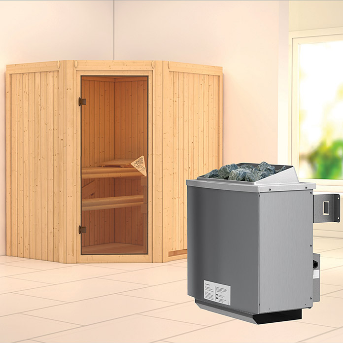 karibu systemsauna taurin mit 9 kw saunaofen mit integrierter steuerung ohne dachkranz 152 x. Black Bedroom Furniture Sets. Home Design Ideas