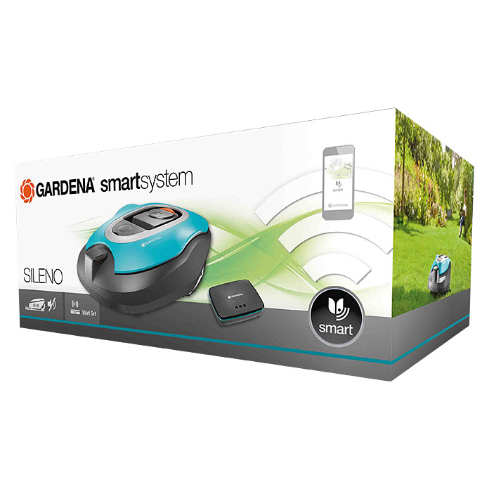 gardena smart system m hroboter set sileno 18 v li ionen 2 1 ah 1 akku max. Black Bedroom Furniture Sets. Home Design Ideas