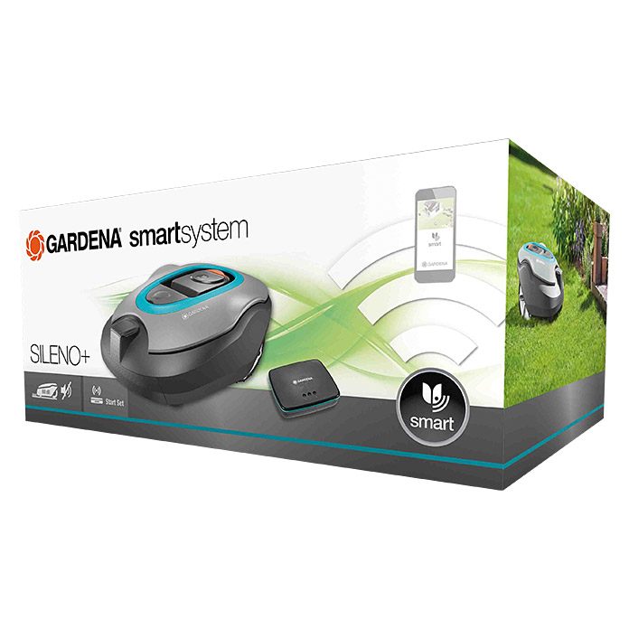 gardena smart system m hroboter sileno set 18 v li ionen 2 1 ah 1 akku max. Black Bedroom Furniture Sets. Home Design Ideas