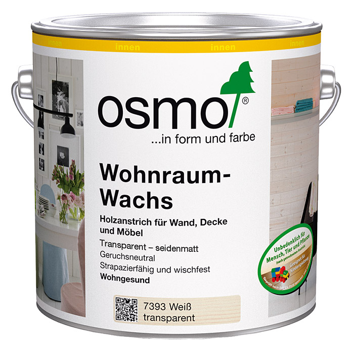 osmo wohnraum wachs wei transparent seidenmatt 750 ml bauhaus. Black Bedroom Furniture Sets. Home Design Ideas