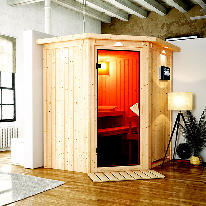 karibu systemsauna taurin mit saunaofen 9 kw inkl steuerung easy mit dachkranz und. Black Bedroom Furniture Sets. Home Design Ideas