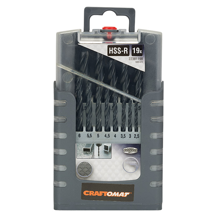 Craftomat Metallbohrer-Set HSS-R Gripbox (19-tlg., 1 mm - 10 mm)