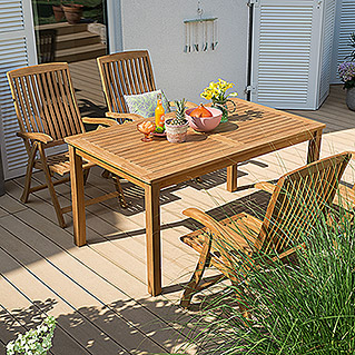 Sunfun Elements Elena Dining-Set  (Holztisch Elena, Positionssessel Elena)