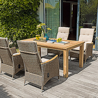 Sunfun Elements Noemi Dining-Set  (Holztisch Noemi, Positionssessel Janina)