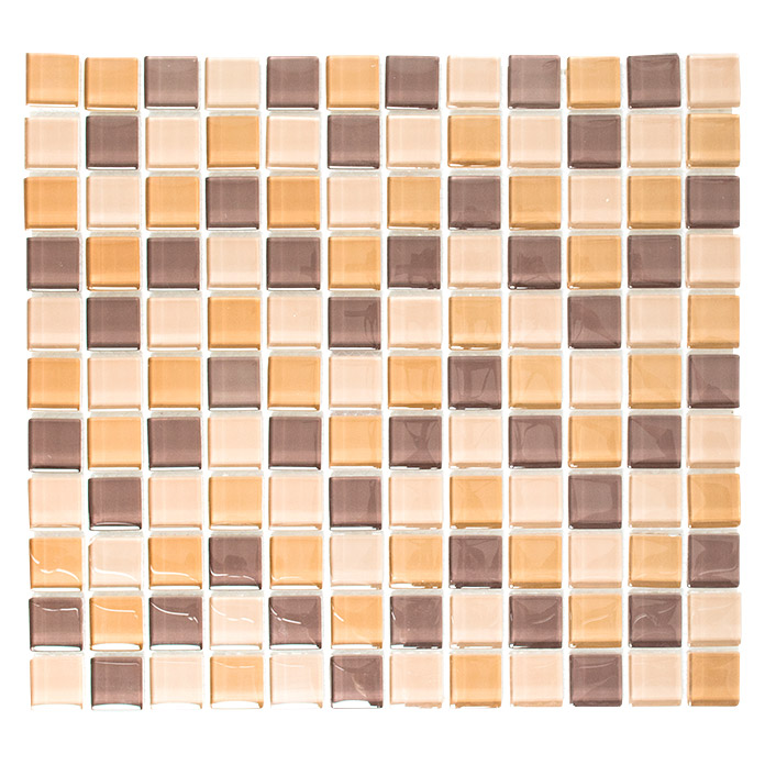 Mosaikfliese Quadrat Crystal Mix XCM 8555 (Braun/Orange/Beige)