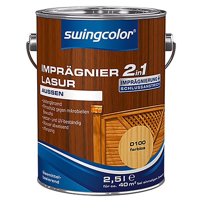 swingcolor 2in1 Imprägnierlasur  (Farblos, 2,5 l)