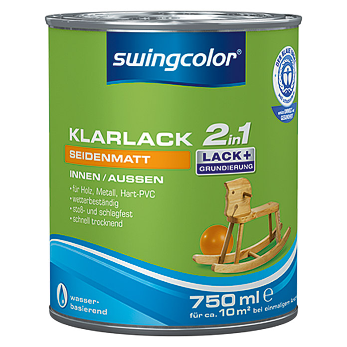 swingcolor 2in1 klarlack farblos 750 ml seidenmatt. Black Bedroom Furniture Sets. Home Design Ideas