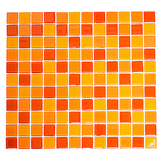 Mosaikfliese Quadrat Crystal Mix CM 4523 (32,7 x 30,2 cm, Gelb/Orange/Rot, Glänzend)