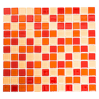 Mosaikfliese Quadrat Crystal Mix CM 4005 (32,7 x 30,2 cm, Rot/Orange, Glänzend)