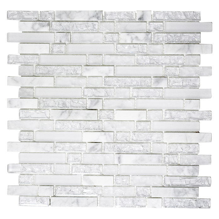 Glasmosaik Crystal White Mosaikfliesen weiß 29,5 x 29,5 x 0,8 cm Pool Bad