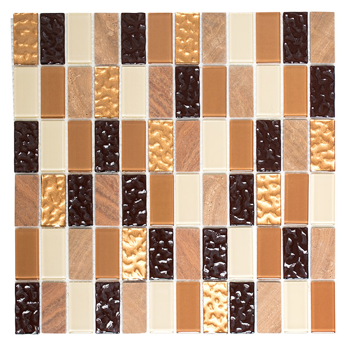 Mosaikfliese Crystal Mix SAM 4MS75 (Beige/Braun)