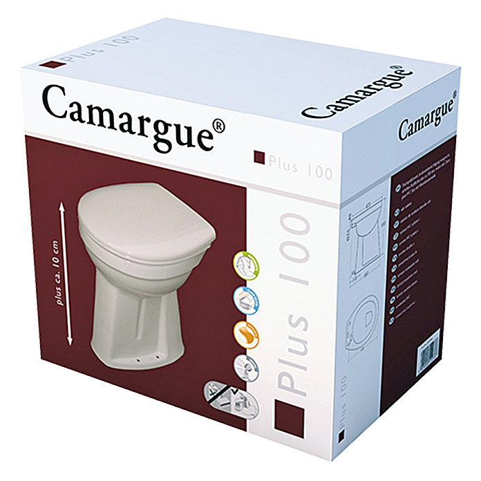 camargue stand wc plus 100 flachsp ler wc abgang senkrecht 10 cm erh ht mit wc sitz 3938. Black Bedroom Furniture Sets. Home Design Ideas