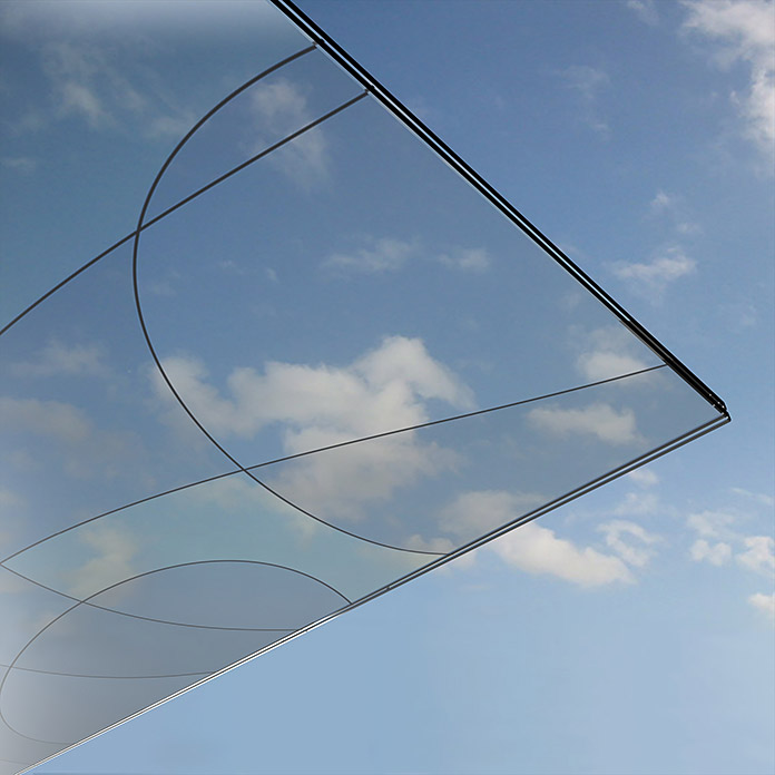 Solid Elements Vordachglasscheibe Loop/Wing (1.500 x 750 mm, Motivglas)