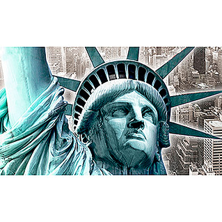 Giclee mit Glitzer-Applikation (Close up Statue of Liberty, 135 x 78 cm)