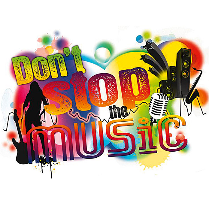 DECOSTICKER 12-TLG.DON`T STOP THE MUSIC 100X70cm