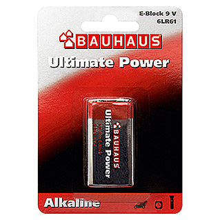 BAUHAUS Alkaline-Batterie Ultimate Power (E Block, Alkali-Mangan, 9 V, 1 Stk.)