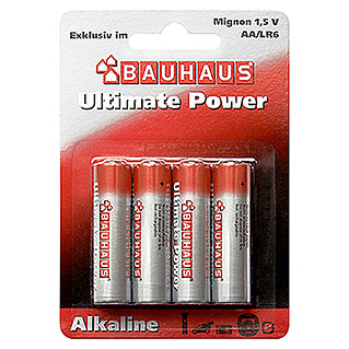 BAUHAUS Alkaline-Batterie Ultimate Power (Mignon AA, 4 Stk.)