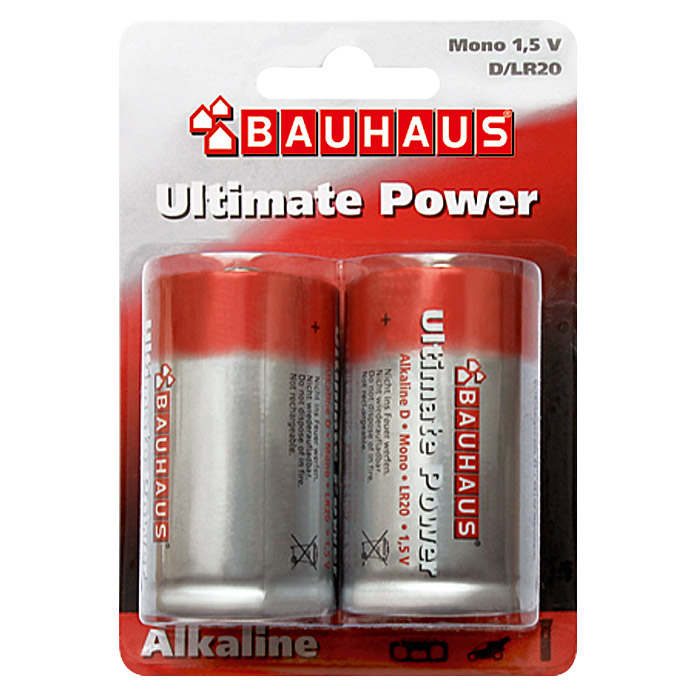 BAUHAUS Alkaline-Batterie Ultimate Power (Mono D, 2 Stk.)